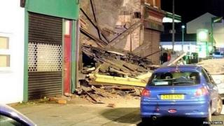 Collapsed building in Wallasey