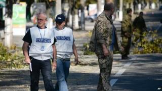 OSCE members in Donetsk. Photo: August 2014