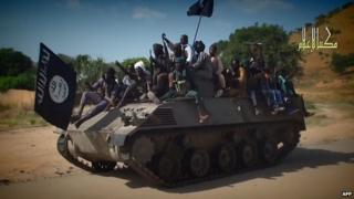 Boko Haram video shows fighters parading captured tank in an unidentified town. 9 Nov 2014