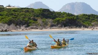 Kayakers in Tasmania, Australia