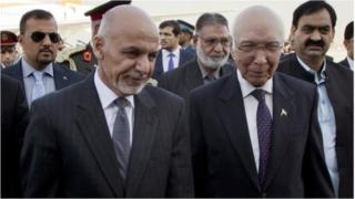 "Pakistan""s adviser on National Security and Foreign Affairs Sartaj Aziz, right, greets Afghan President Ashraf Ghani at Chaklala airbase in Rawalpindi, Pakistan, Friday, Nov. 14, 2014."