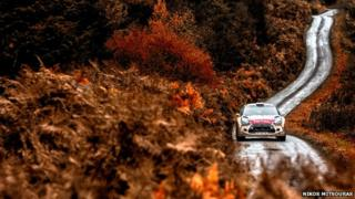 Mads Ostberg of Norway driving his Citroen DS3 during the shakedown of the Wales Rally GB 2014, in Deeside