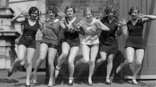 Circa 1926: Dancers demonstrate steps from the Charleston