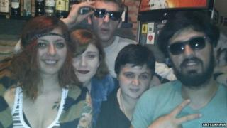 a selfie of four young people in Bar Assad in Tbilisi, Georgia