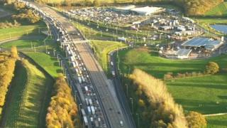 M25 pothole - aerial view