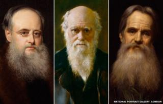 From left: Wilkie Collins, Charles Darwin, William Holman Hunt