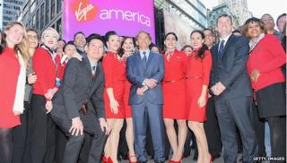 Virgin America staff and stewardesses outside Nasdaq
