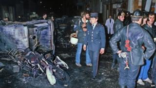 The aftermath of a 1980 bomb attack, which hit a Paris synagogue on Rue Copernic