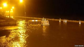 Flooding closes a road in Brechin