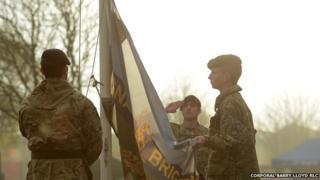 Flag raising ceremony at Venning Barracks, Telford