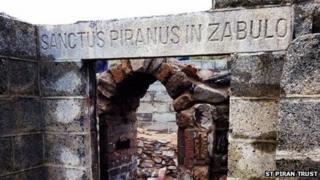 The lintel at St Piran's Oratory