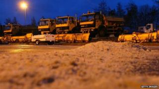 Gritters and ploughs at council depot