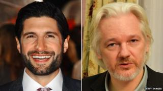 Kayvan Novak and Julian Assange