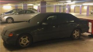 The unlocked Mercedes was abandoned in the Broadway Plaza car park, off Five Ways in Birmingham.