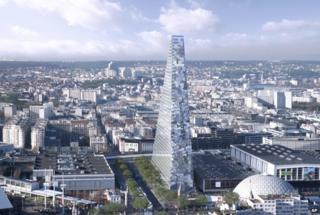 Computer image of Paris Triangle tower project