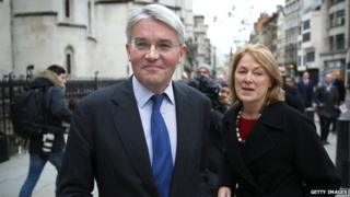 Andrew Mitchell with his wife outside the High Court