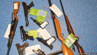 Selection of guns handed in to North Yorkshire Police