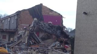 Debris of house destroyed in explosion