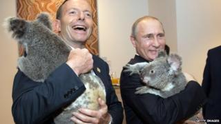 Tony Abbott and Vladimir Putin