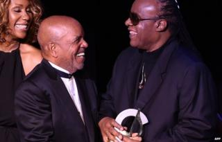 Stevie Wonder with Berry Gordy