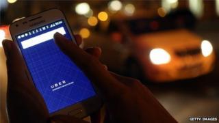 Uber app on smartphone