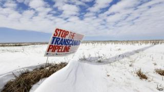 A sign reading Stop the Transcanada Pipeline appeared in Bradshaw, Nebraska, on 11 March 2013