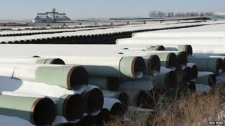 A depot used to store pipes for Transcanada Corps planned Keystone XL oil pipeline is seen in Gascoyne, North Dakota, on 14 November 2014