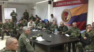 Colombian Defence Minister Juan Carlos Pinzon meets with the Army's High Command in Quibdo in Colombia on 17 November 2014.