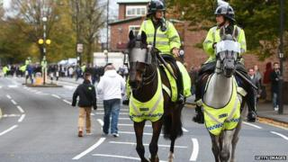 Mounted police outside Loftus Road football ground on 8 November 2014