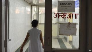 Indian nurse in a unit for potential Ebola patients at a Delhi hospital