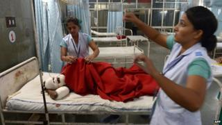 Several people have been injured in clashes between the police and the guru's supporters