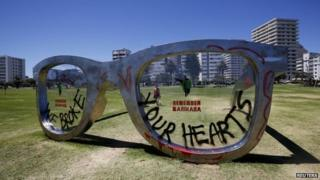 Defaced glasses sculpture
