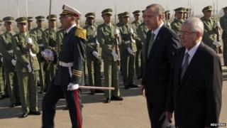 Turkey's President Recep Tayyip Erdogan (centre) reviews an honour guard during a welcome ceremony upon his arrival at Algiers airport (19 November 2014)