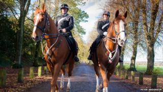 PC Sian Smith and Rick Lewis on horseback