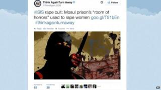 """Screen grab from the US Department of State's Twitter page """"Think Again Turn Away"""" 20 September 2014"""