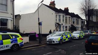 Police at St Ann's Road, Southend