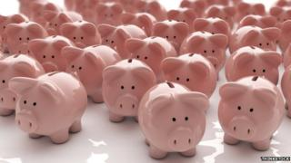 Lots of pink pig-shaped money boxes