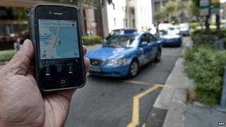 Uber app in Singapore