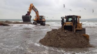 Work on Poole's Shore Road beach