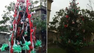 Bradford-on-Avon's Christmas tree - before and after