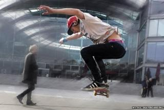 Danny Wickins of Mythic Skateboarding outside The Forum, Norwich
