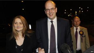 Mark Reckless with his wife Catriona Brown arriving at the Rochester by-election count