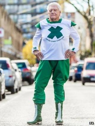 David Prowse as the Green Cross Code Man