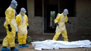 Health workers from Guinea's Red Cross disinfect an Ebola victim in Guinea on 19 November 2014