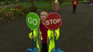 Pupils at Ballycraigy Primary School, Antrim, have been given high visibility jackets