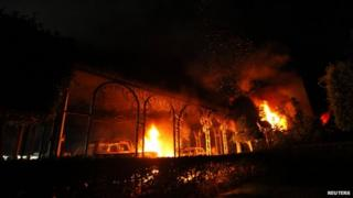 The US Consulate in Benghazi is seen in flames on 11 September 2012