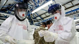 Medics in training before flying to Sierra Leone to treat Ebola patients