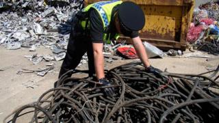 Police with stolen cable