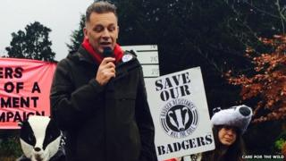 Chris Packham at the protest in Winchester
