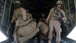 US marines in Kandahar, October 2014
